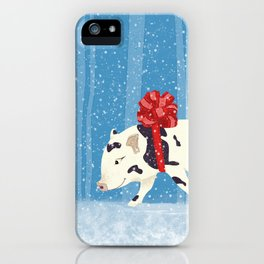 Cute Little Pig Holiday Design iPhone Case