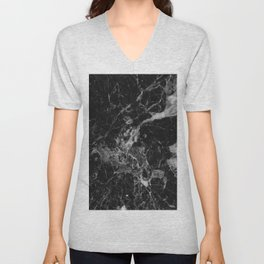 Black and Gray Marble Pattern Unisex V-Neck