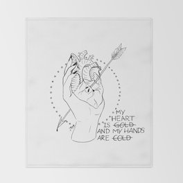 Gold Heart, Cold Hands Throw Blanket
