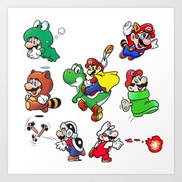Old School Marios Art Print