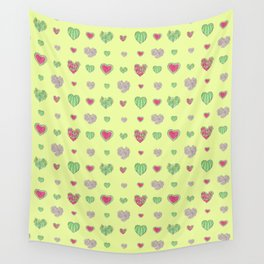 For the love of Watermelon - yellow background Wall Tapestry