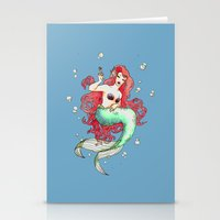 mucha Stationery Cards featuring Mucha-esque Mermaid by Beth Aucoin