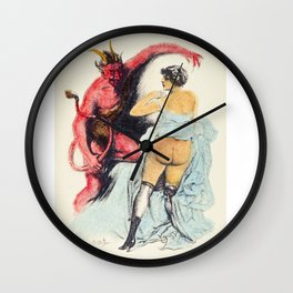 Devil Vintage hand colored nude woman red bum butt Wall Clock