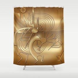 Magical Kokopelli in Bronze Mist Shower Curtain
