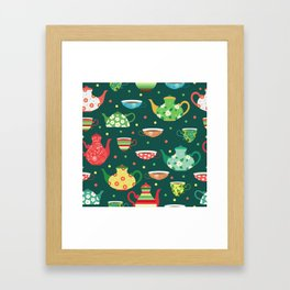 Tea pattern Framed Art Print