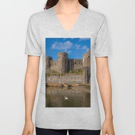 Conwy Castle And Swan Unisex V-Neck