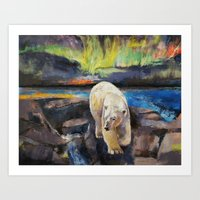 northern lights Art Prints featuring Northern Lights by Michael Creese
