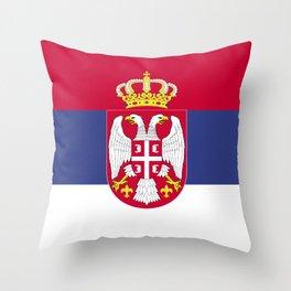 Serbia flag emblem Throw Pillow