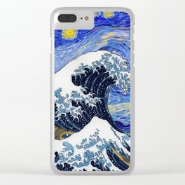 "Hokusai,""The Great Wave off Kanagawa"" + van Gogh,""Starry night"" Clear iPhone Case"
