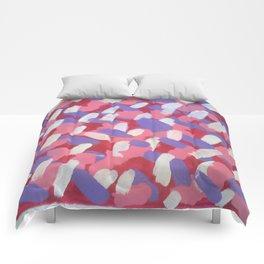 Pink and Purple Brushstrokes Art Comforters