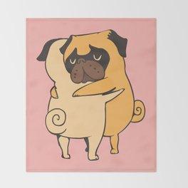 Pug Hugs Throw Blanket