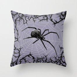 Briar Web - Gray Throw Pillow