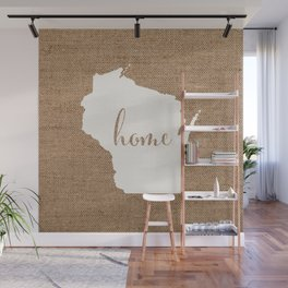 Wisconsin is Home - White on Burlap Wall Mural