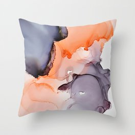 Salmon & Black Ink Throw Pillow