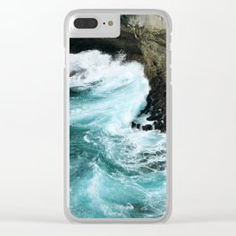 Turquoise Waves Clear iPhone Case