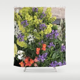 Chartreuse flowers Shower Curtain