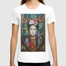 Frida White LARGE Womens Fitted Tee