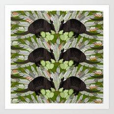 native armadillos green Art Print
