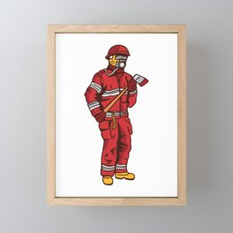 Fireman in equipment Framed Mini Art Print