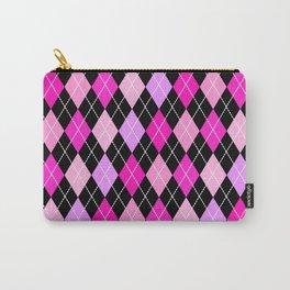 Pink Lavender Black Argyle Carry-All Pouch