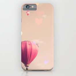 Hot air balloons nursery and heart bokeh on pale pink iPhone Case
