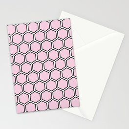 Light pink, white and black hexagonal pattern Stationery Cards