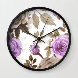 FLOWERS WATERCOLOR 9 Wall Clock