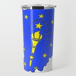 Indiana Map with Indiana State Flag Travel Mug