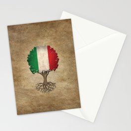 Vintage Tree of Life with Flag of Italy Stationery Cards
