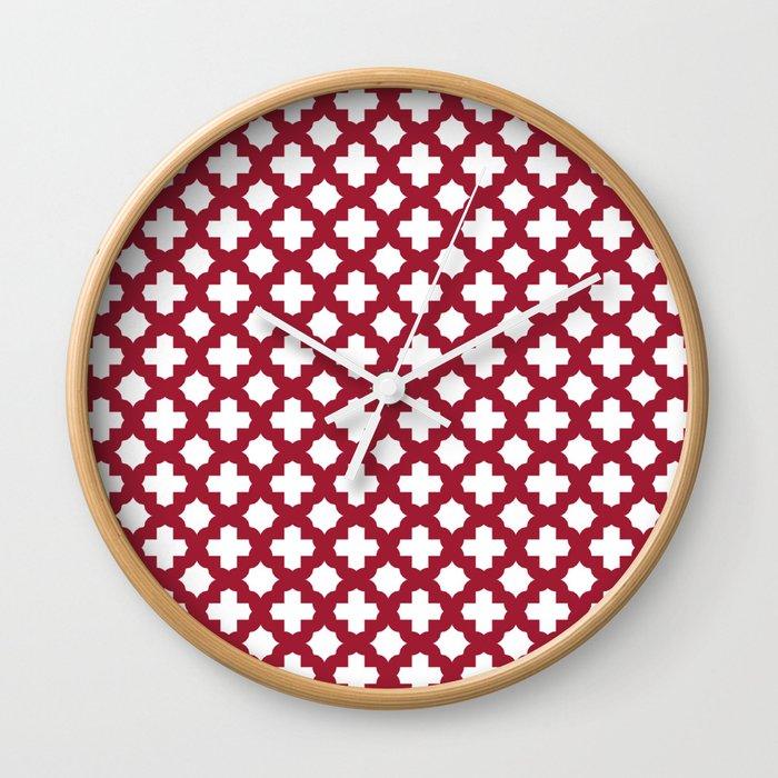 Crimson Red Stars & Crosses Pattern Wall Clock