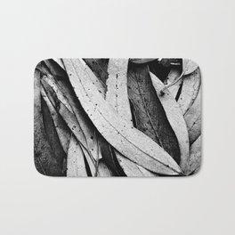 Fallen Eucalyptus Leaves Texture Black and White Bath Mat