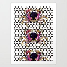 Lucky Crab Auspicious Hexagon Pattern Art Print