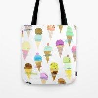 ice cream Tote Bags featuring Ice cream  by maria carluccio