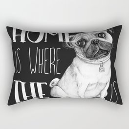 Home Is Where The Dog Is (Pug) Black Rectangular Pillow