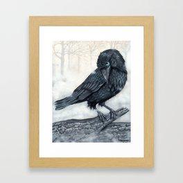 El ve a través del cuervo y controla la niebla Framed Art Print