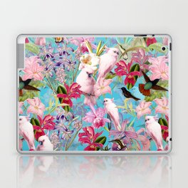 Vintage & Shabby Chic - Pink Tropical Birds and Orchid Flower Pattern Laptop & iPad Skin