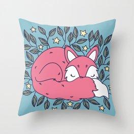 Cute Sleepy Fox Throw Pillow