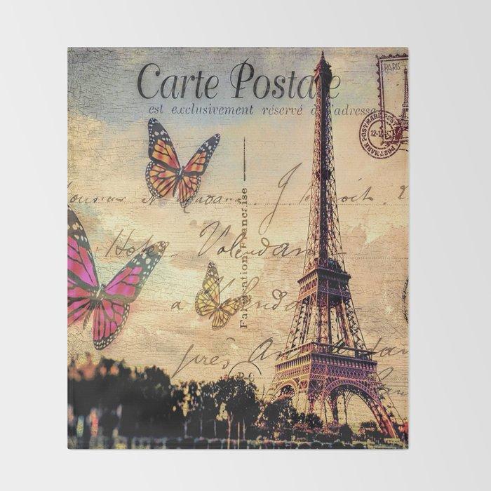 Vintage Paris-Carte Postale Throw Blanket by augustinet | Society6
