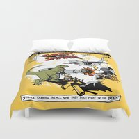 t rex Duvet Covers featuring T-Rex VS Shark  by Katie Badenhorst