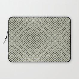 Vintage chic green black geometrical floral pattern Laptop Sleeve