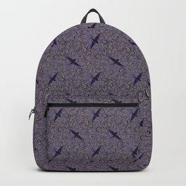 Soaring Birds and Elegant Scrolls Vintage Swallow Design in Purple Backpack