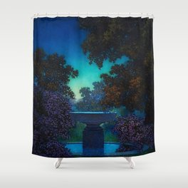 Blue Fountain at Twilight by Maxfield Parrish Shower Curtain
