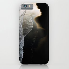 Waves on a moody black sand beach in iceland - minimalist Landscape Photography  iPhone Case