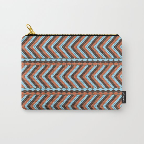 African abstract retro tribal   pattern.Turquoise and brown. Carry-All Pouch