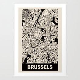 Brussels, Belgium, city map, Cararra Art Print