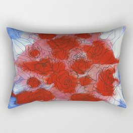 Red roses in watercolor and ink Rectangular Pillow