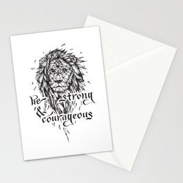 Be Strong & Courageous, Geometric Lion Stationery Cards