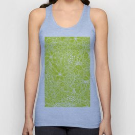 Modern white hand drawn floral lace illustration on lime green punch Unisex Tank Top