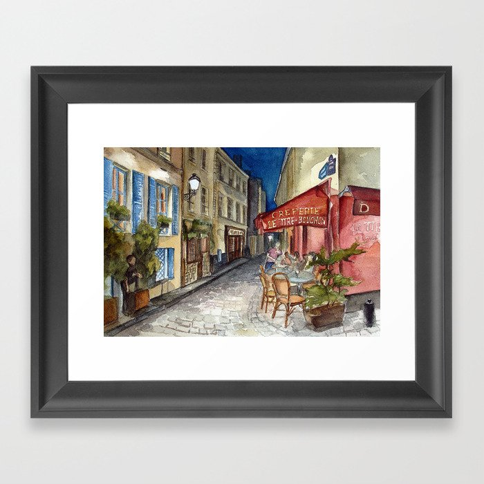Postcards from Paris - Montmartre by Night: Le Tire-Bouchon Creperie Framed Art Print