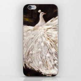 White Peacock Oil Painting iPhone Skin